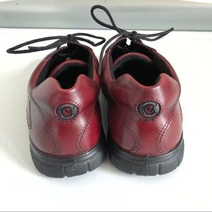 Ecco Shoes - Ecco lace up leather oxblood red women's sneakers
